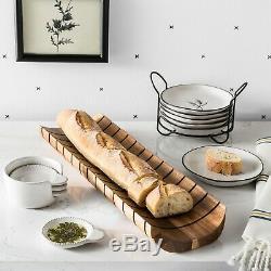 Hearth and Hand Magnolia Acacia Wood Bread Board Slicer Serving Tray Farmhouse