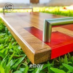 High Luxury Serving tray Breakfast Lunch Dinner tray EPOXY Resin Nedun Wood Tray