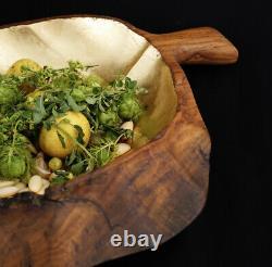 Huge Gold Leaf Fruit Bowl Food Serving Tray Bowl Hand Carved Solid Teak Wood