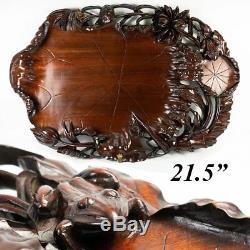 Huge Vintage-Antique 21.5 Hand Carved Asian Teak Serving Tray, Frog & Lily Pads