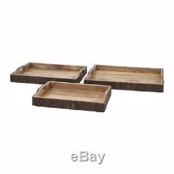 IMAX Worldwide 71822-3 Nakato Wood Bark Serving Trays (Set of 3)