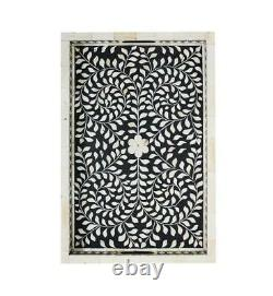 In stock handmade Bone Inlay Wooden Modern Floral Pattern Serving Tray Furniture