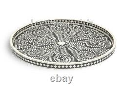 Indian Handmade Bone Inlay Large Round Serving Tray in Black