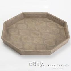Inlaid Parquet Solid Wood Serving Tray Octagon Round Mid Century Modern Diamond