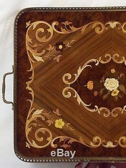 Italian Inlaid Marquetry LARGE 23 Serving Tray with Kingwood, Brass Edge Handles