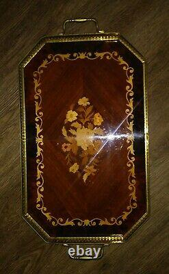 Italian Tray Inlaid Wood Floral Brass Handles Made In Italy 21 Wooden Serving