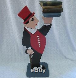 JIGGS! Vtg 29 Folk Art WOOD BUTLER-Waiter SIDE TABLE-Smoking Stand-SERVING TRAY