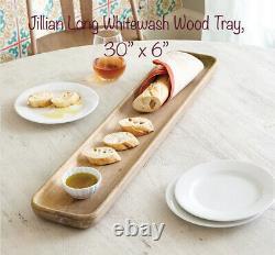 Jillian Long Whitewash Wood Tray 30x 6