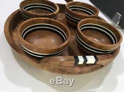 Juliska Stonewood Stripe 5 Piece Acacia Wood Appetizer Set Serving Tray & Bowls