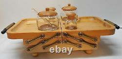 Karoff Fold Away Buffet Wood Tray Two Lidded Jars with Spoons Salt and Pepper