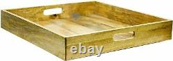 Kitchen Serving Tray Square Wooden Decor Rack Home Wood Table Food Holder NGN137
