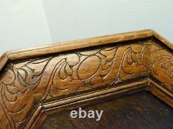 LARGE 24 ANTIQUE Victorian CARVED WOOD & Glass BUTLER TRAY Butterfly Needlework