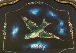 Large Antique/Vtg 21 Abalone Shell Glass Wood BIRD FLOWER Serving Tray Handles