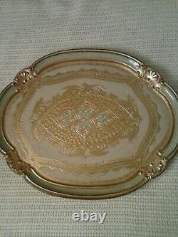 Large Italian Florentine tray wood gold leaf baroque rococo cream light green
