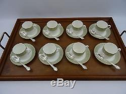 Large Oak Wooden Serving Butler Tray Brass Handles Gallery Sided