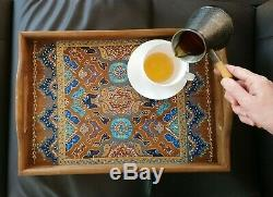 Large Ottoman Serving Coffee Table Breakfast Rectangular Tray with handles