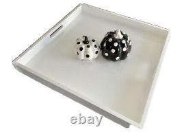 Large Ottoman Square Serving Tray- 20x20x2-inch Glossy White Wooden Service Tray