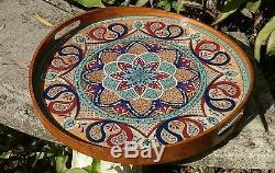 Large Ottoman Wooden Serving Coffee Table Breakfast Round Tray with handles