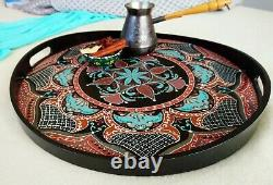 Large Ottoman Wooden Serving Coffee Table Breakfast Tea Round Tray with handles