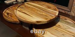 Large Round Teak Wood Charcuterie Serving Tray Cheese Board Food Grade