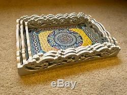 Large Set Of 3 Wooden Serving Trays Shabby Chic Kitchen Tray Vintage Decor Xmas