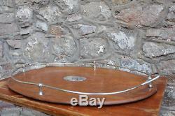 Large Vintage Antique Wooden Serving Tray 62cm Silver Plate / EPNS Breakfast