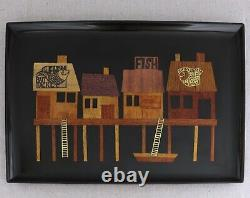 Large Vintage Couroc Fishermans Wharf Village Inlaid Wood Brass Serving Tray 18