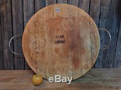 Large Vintage Rustic Wood French WINE BARREL TOP Serving Tray France