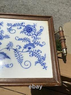 Large antique Meissen Blue Onion Tea Tray/Serving Tray Porcelain Tile and Wood