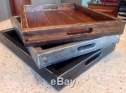 Large reclaimed pallet wood wine serving ottoman tray 22 x 16