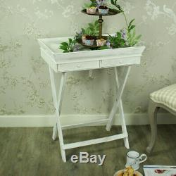 Large white wooden butlers serving tray with drawer storage kitchen country chic