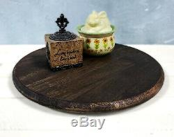 Lazy Susan Turntable Dark Handmade Round Distressed Rotating Pallet Serving Tray