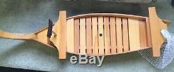 Lg Japanese Sushi Serving Boat Wood Laquer 35.5 Removable tray Restaurant +flag