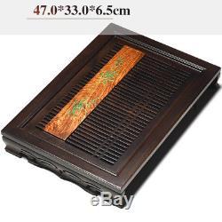 Limited stock ebony wood tea tray handpainted bamboo print drainage tea table