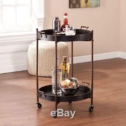 Linwood Black and Aged Bronze Serving Cart Wine Vintage Butler Tray