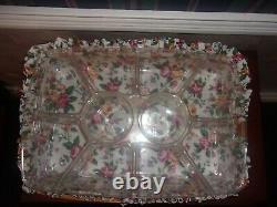 Longaberger 1998 Hostess Serving Tray Basket Set with2 Protectors Garden Splendor