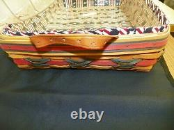 Longaberger July 4th Large Serving Tray Basket with 2 Protectors & RED WHITE BLUE