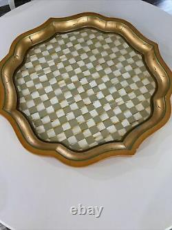 MACKENZIE CHILDS PARCHMENT Stately Wood Serving Drink Platter Tray Rare