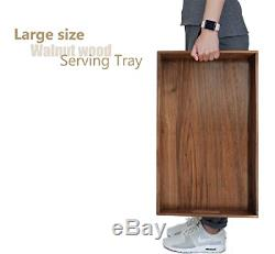 MAGIGO 22.4x13.7 Large Dark Walnut Wooden Ottoman Serving Tray with Handle FSC
