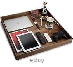 MAGIGO 24 x 24 Inches Extra Large Square Black Walnut Wood Ottoman Tray with or