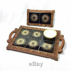 MCM Dal Tile Mexican Ceramic Wood Breakfast Tray Trivet Set Vtg Black Gold Decor