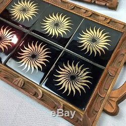 MCM Dal Tile Mexican Ceramic Wood Breakfast Tray Trivet Set Vtg Black Gold Decor