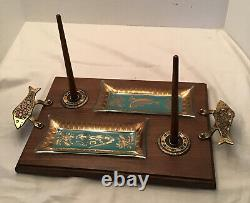 MCM Made in Israel Vintage Brass Wood Glass Cheese Fish Lox Bagel Tray Server