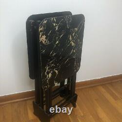 MCM Vintage Folding TV Trays with Stand Wood Marble Design Black Gold Set 2