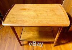 MID CENTURY Serving Cart Teak Danish Wood DYRLUND End Side Table Tray Vintage