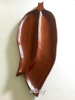 MID Century Modern Haiti Handcarved Mahogany Xlrg Leaf Divided Wood Serving Tray
