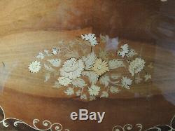 MID Century-italy-laquer Wood Floral Inlay-tea-serving Tray