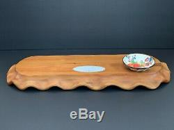 MacKenzie Childs Acacia Wood Serving Tray with Flower Market Enamel Dish