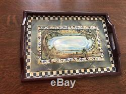 Mackenzie Childs Cloud Watching Courtly Check Wood Handle Drink Serving tray