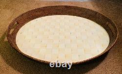 Mackenzie Childs Parchment Check pattern large wood Serving tray